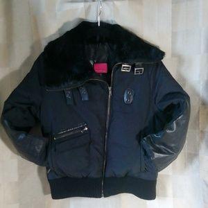 Mackage black down filled bomber jacket